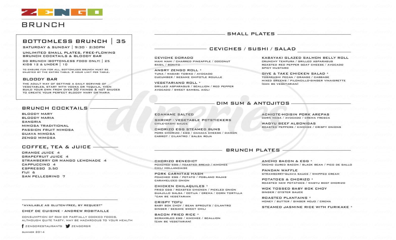 menu for Zengo