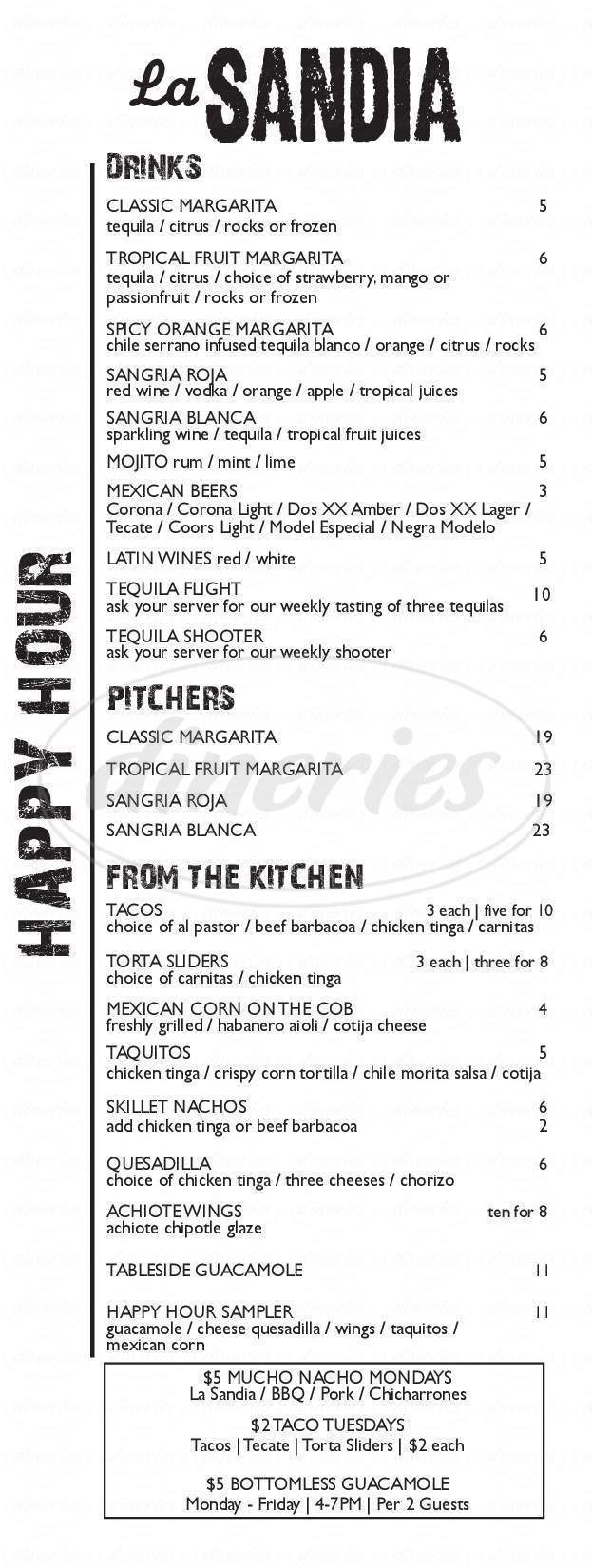 menu for La Sandia