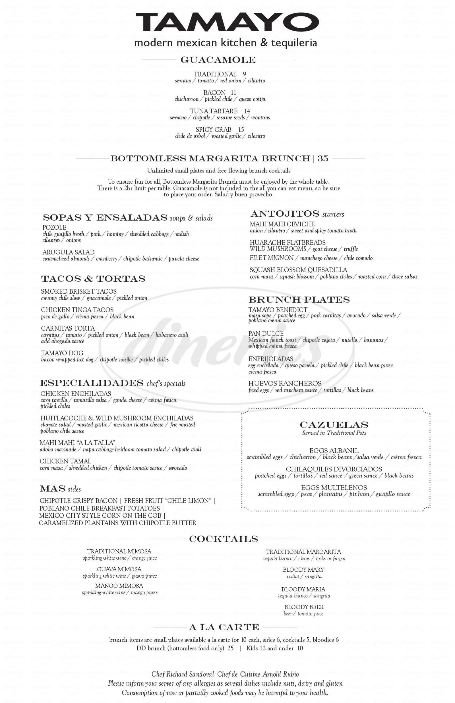 menu for Tamayo