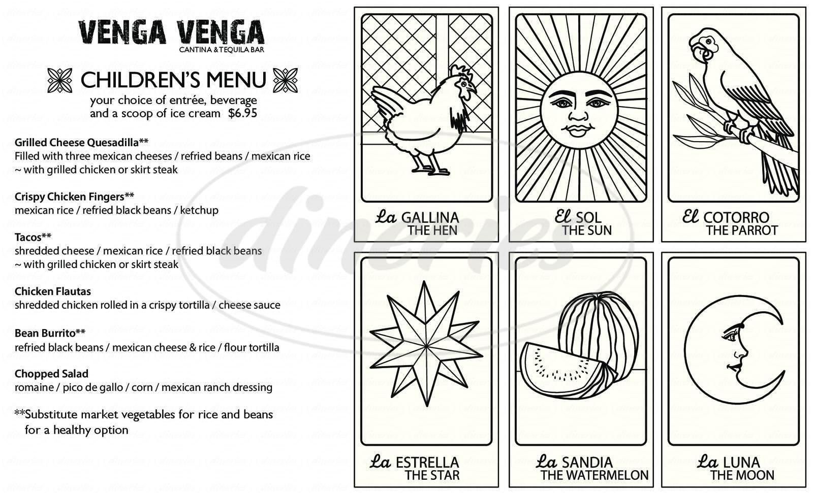 menu for Venga Venga Cantina and Tequila Bar