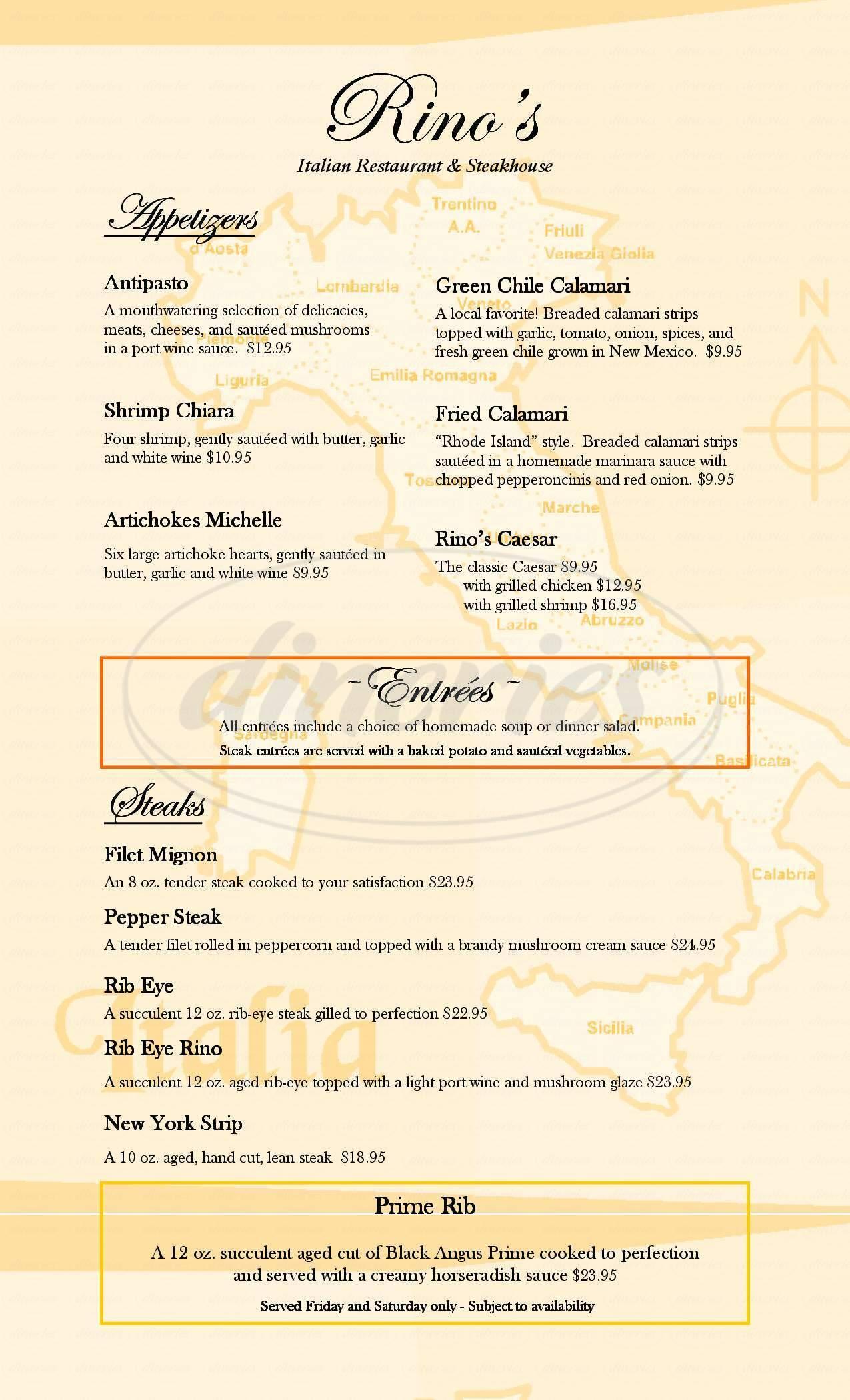 menu for Rinos Restaurant