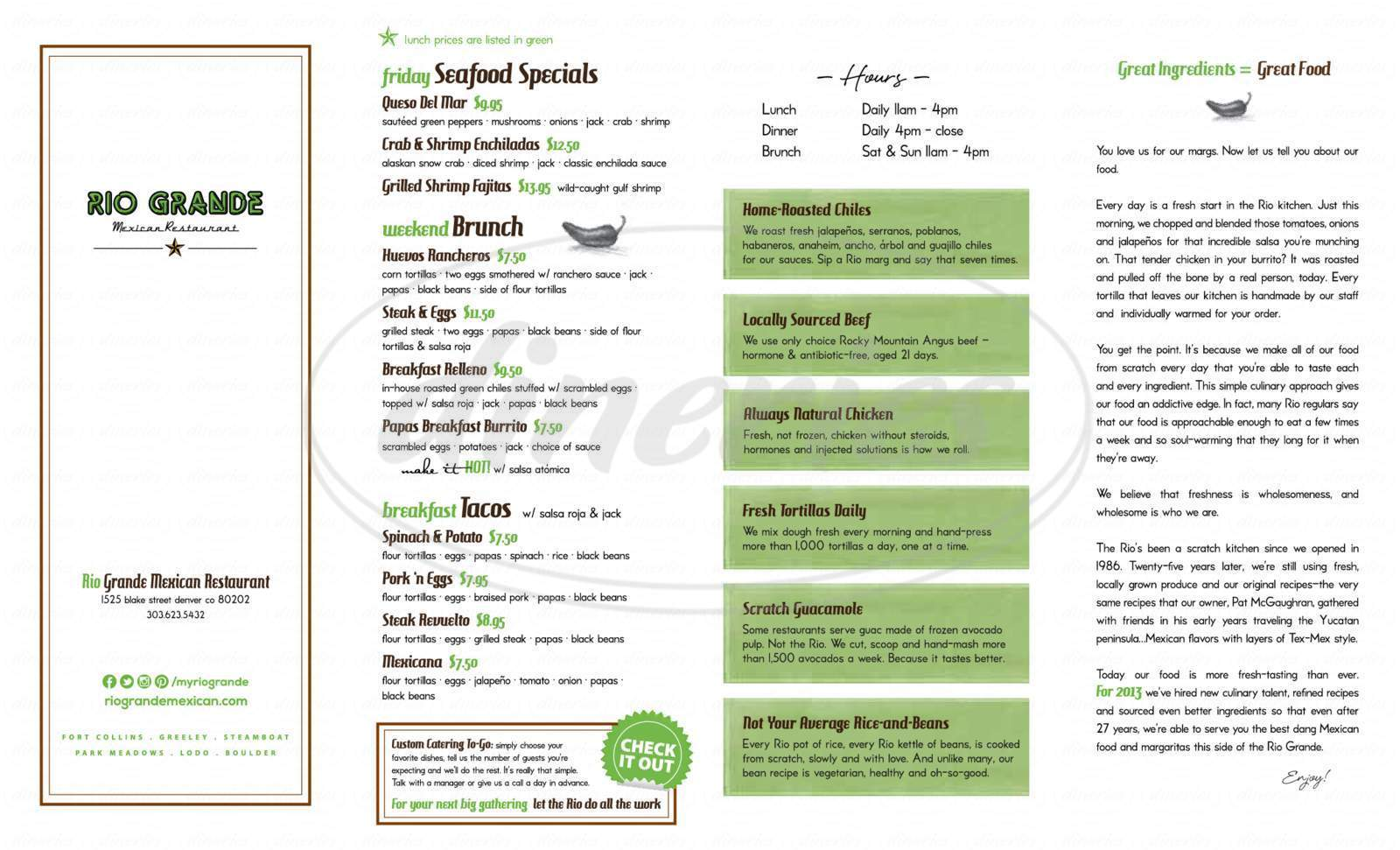 menu for Rio Grande Mexican Restaurant