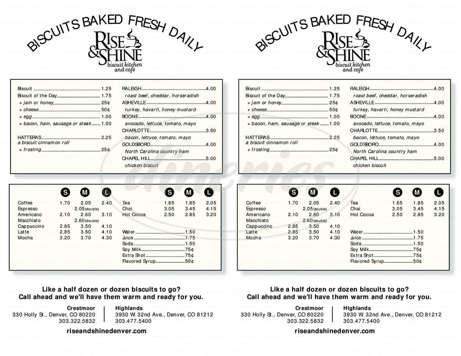 menu for Rise & Shine