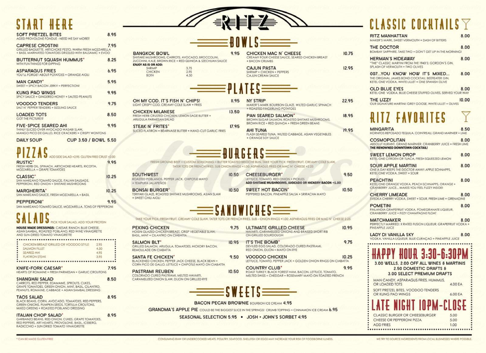 menu for Ritz Grill