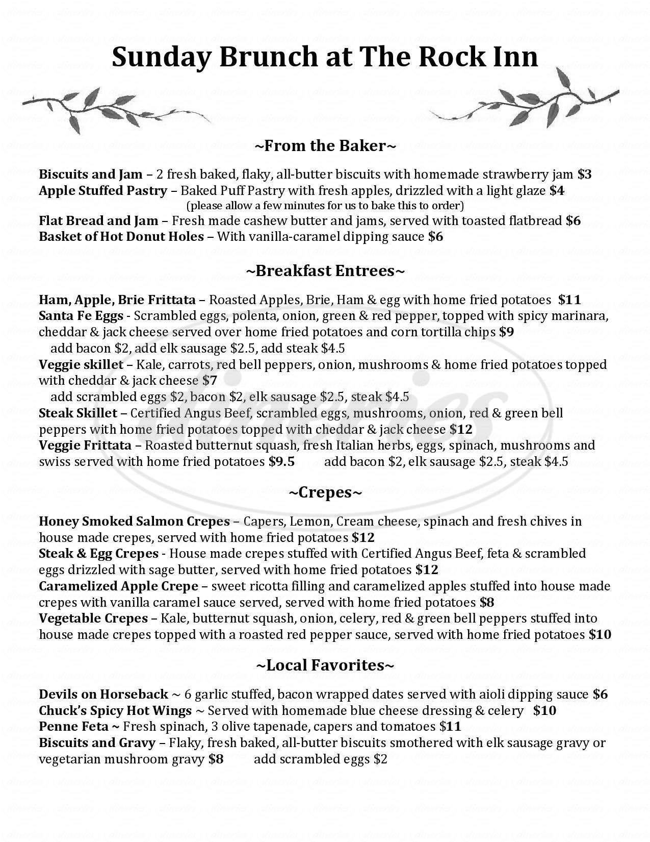 menu for Rock Inn Mountain Tavern