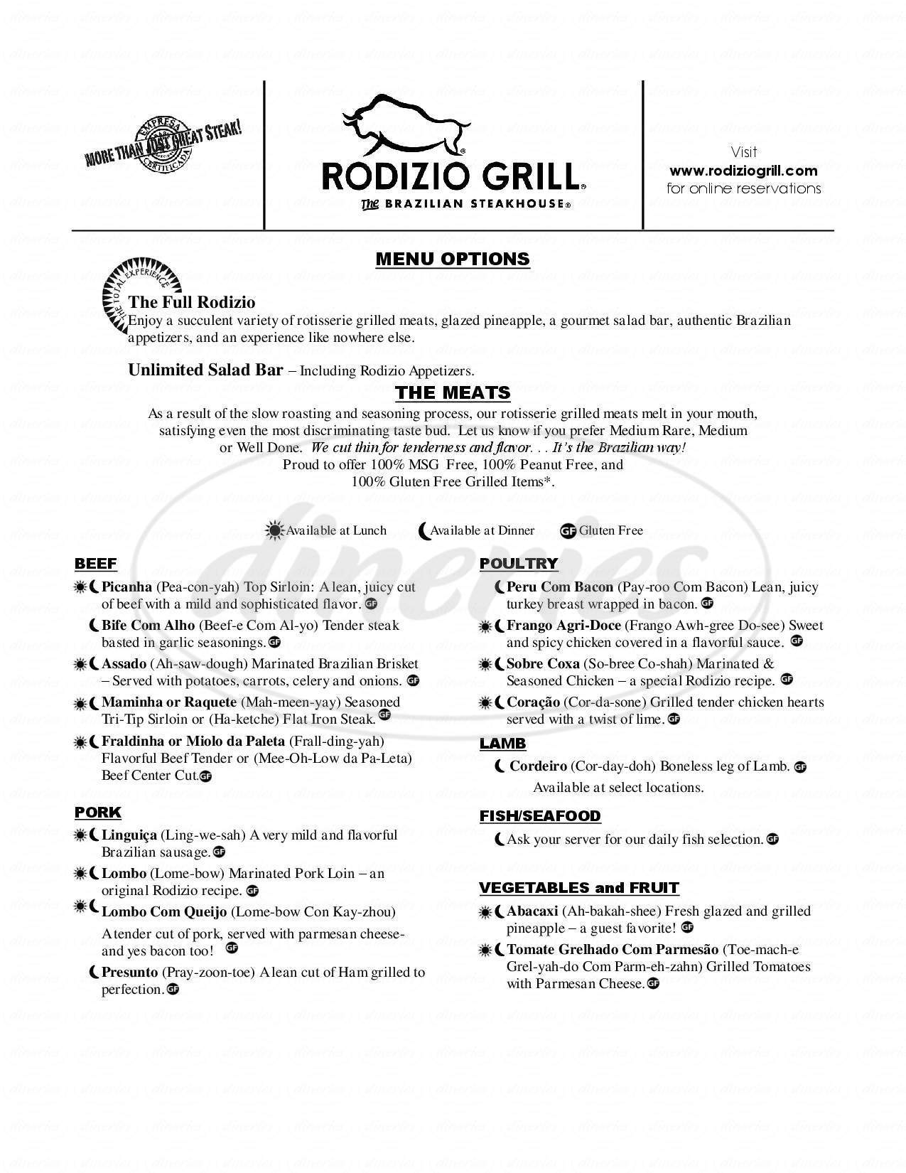 menu for Rodizio Grill