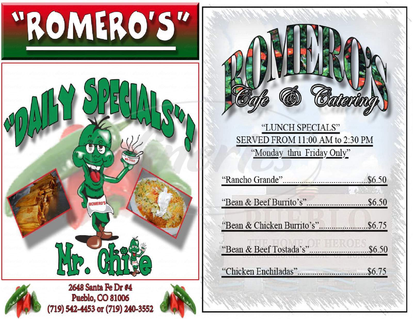 menu for Romero's Cafe & Catering