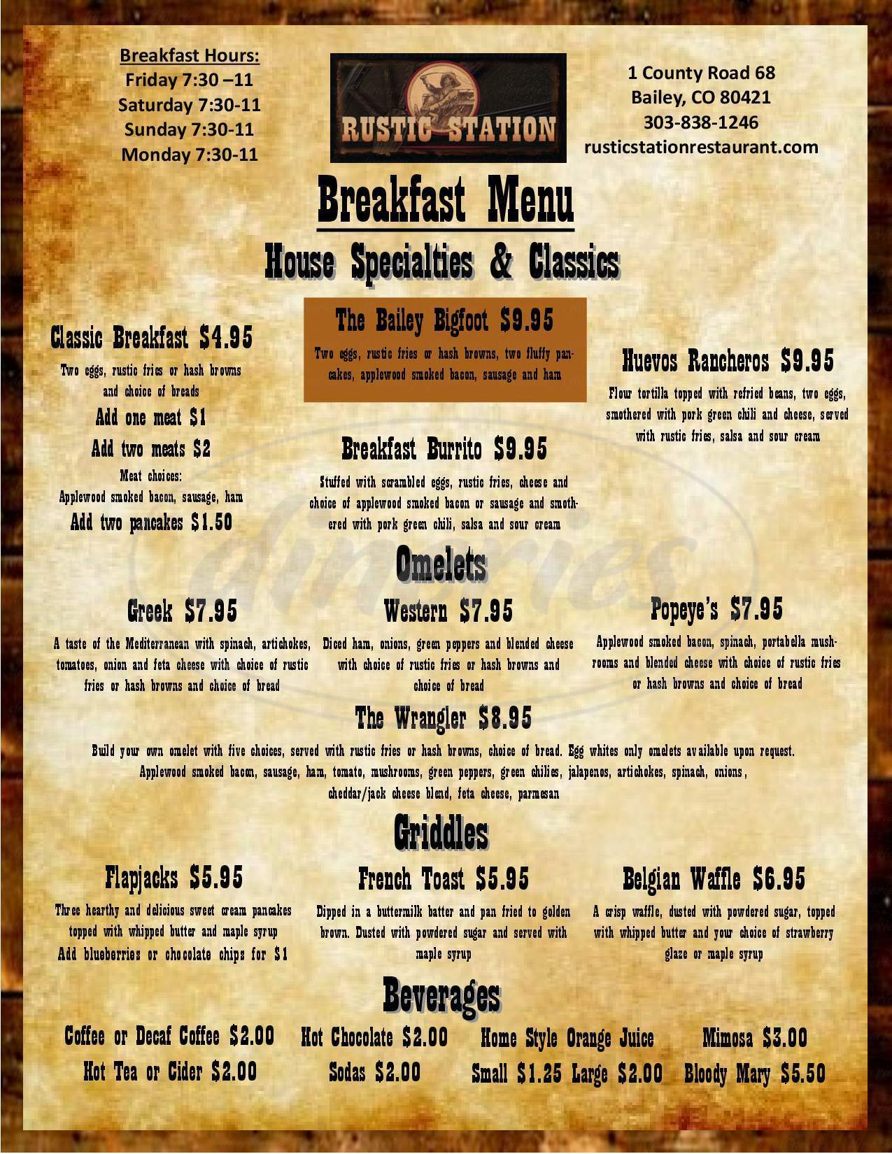 menu for Rustic Station