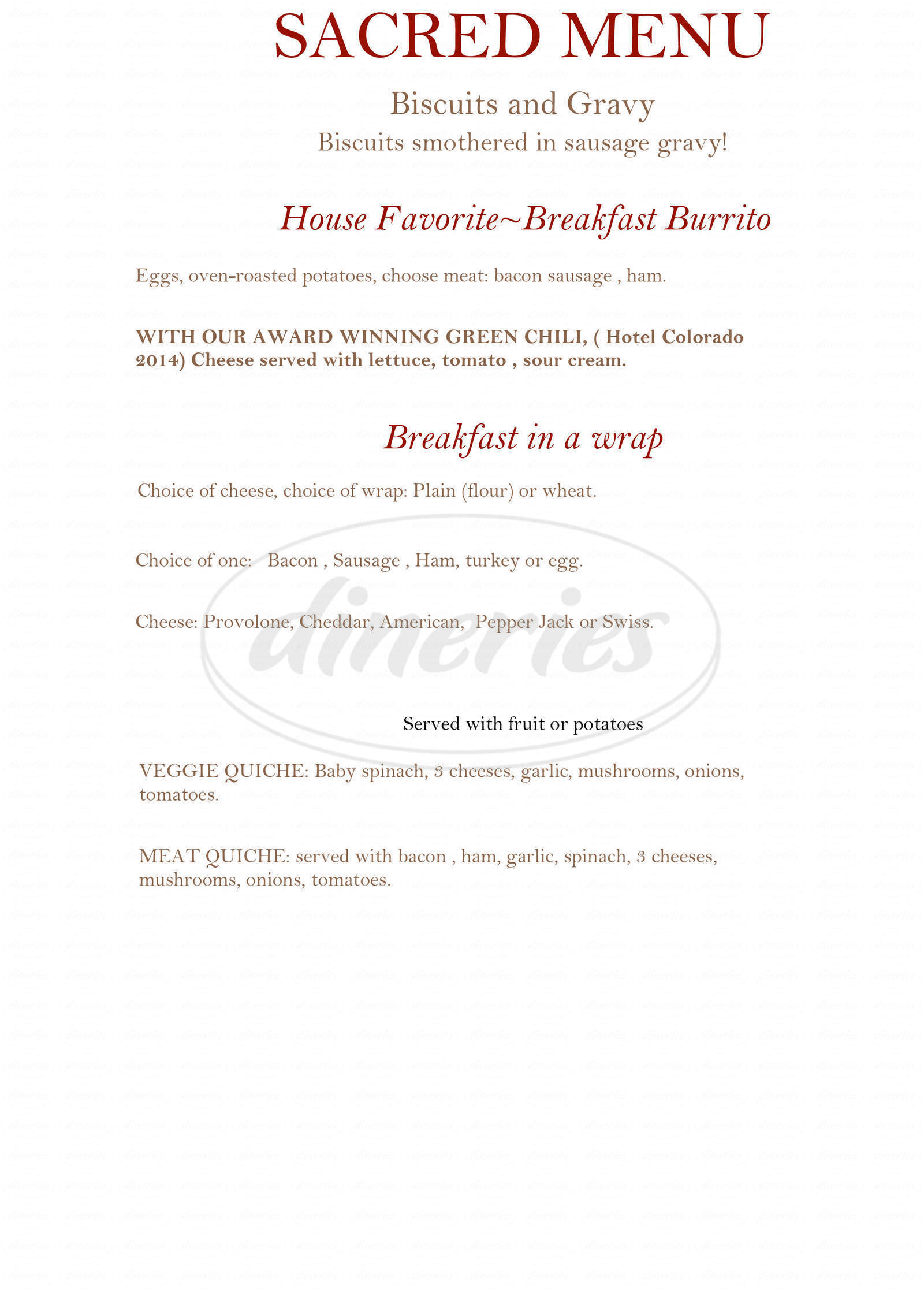 menu for Sacred Grounds
