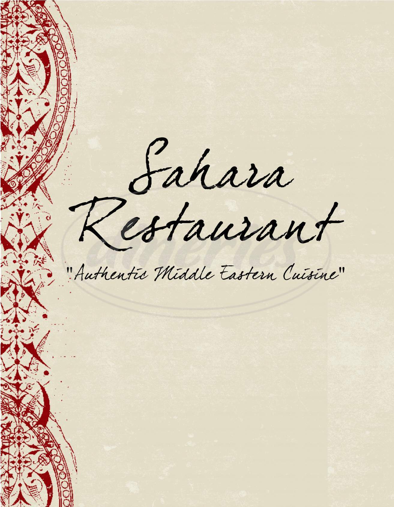 menu for Sahara Restaurant
