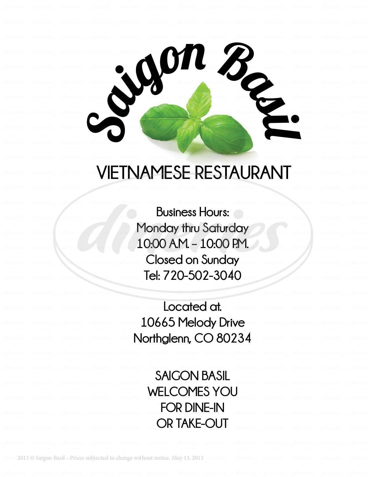 menu for Saigon Basil