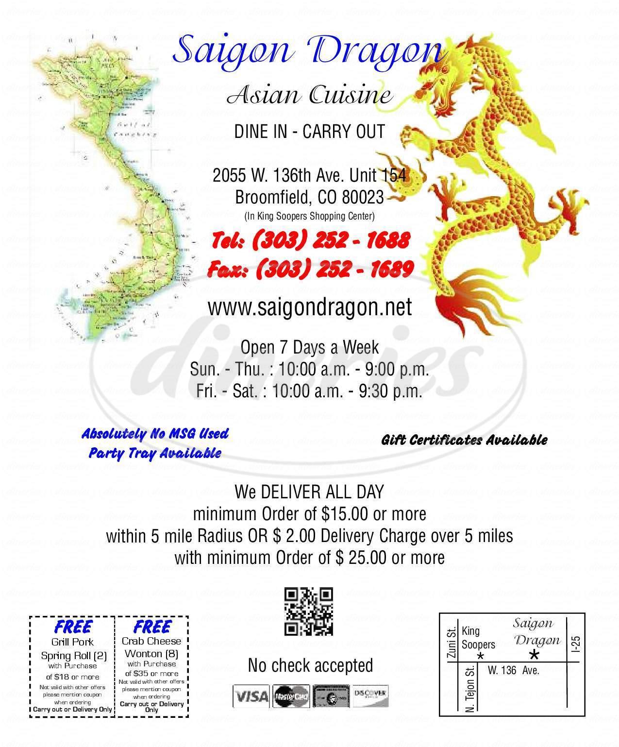 menu for Saigon Dragon Asian Cuisine