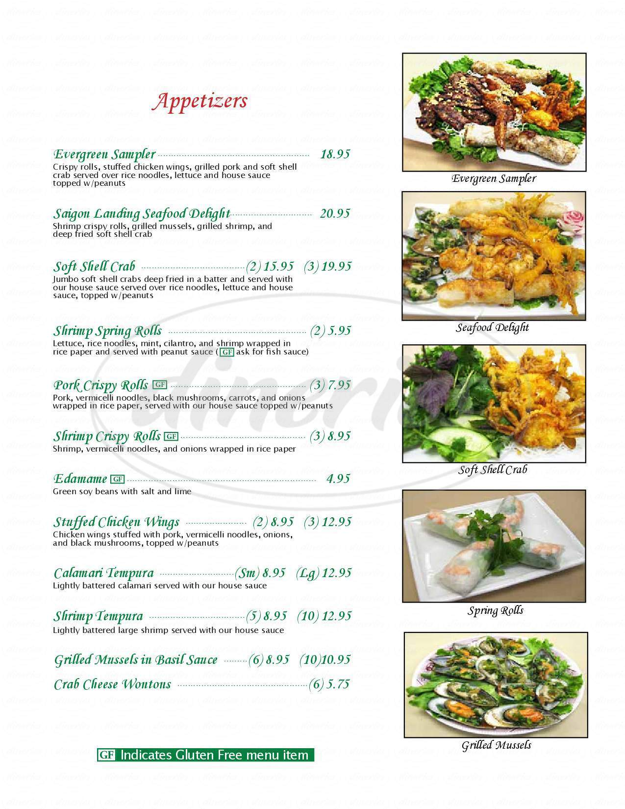menu for Saigon Landing
