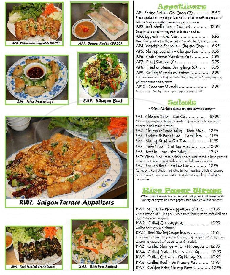 menu for Saigon Terrace