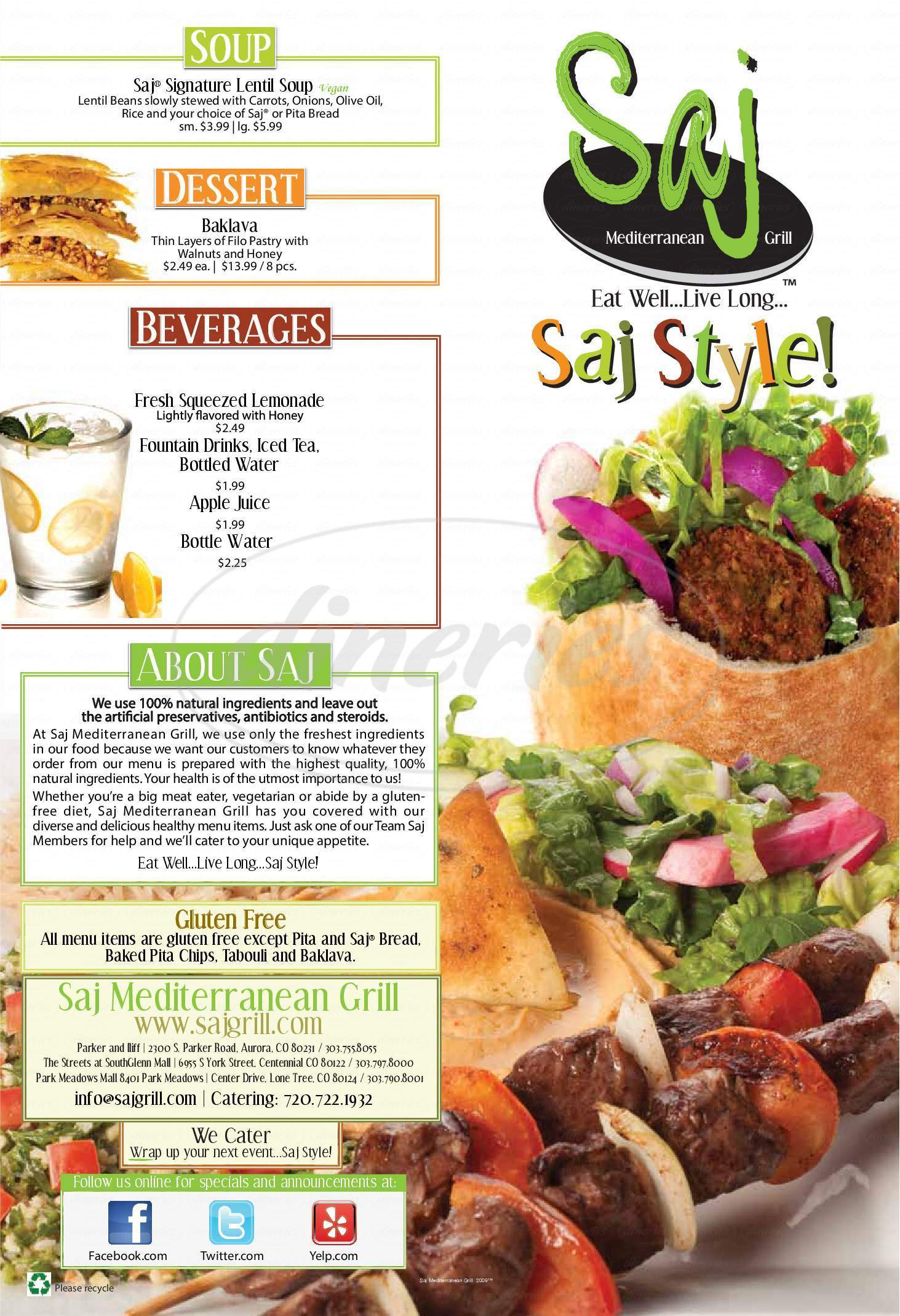 menu for Saj Mediterranean Grill