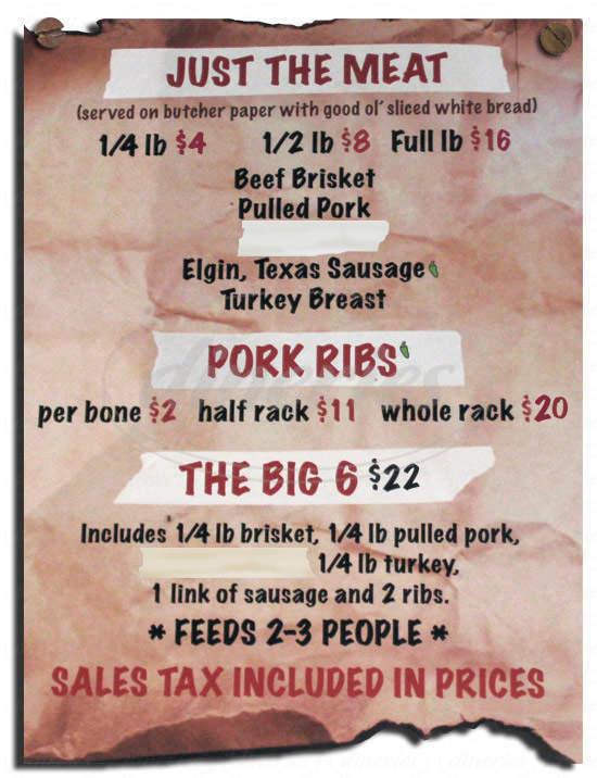 menu for Serious Texas Bar-B-Q