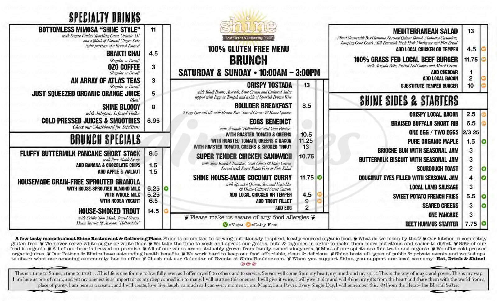 menu for Shine Restaurant & Gathering Place