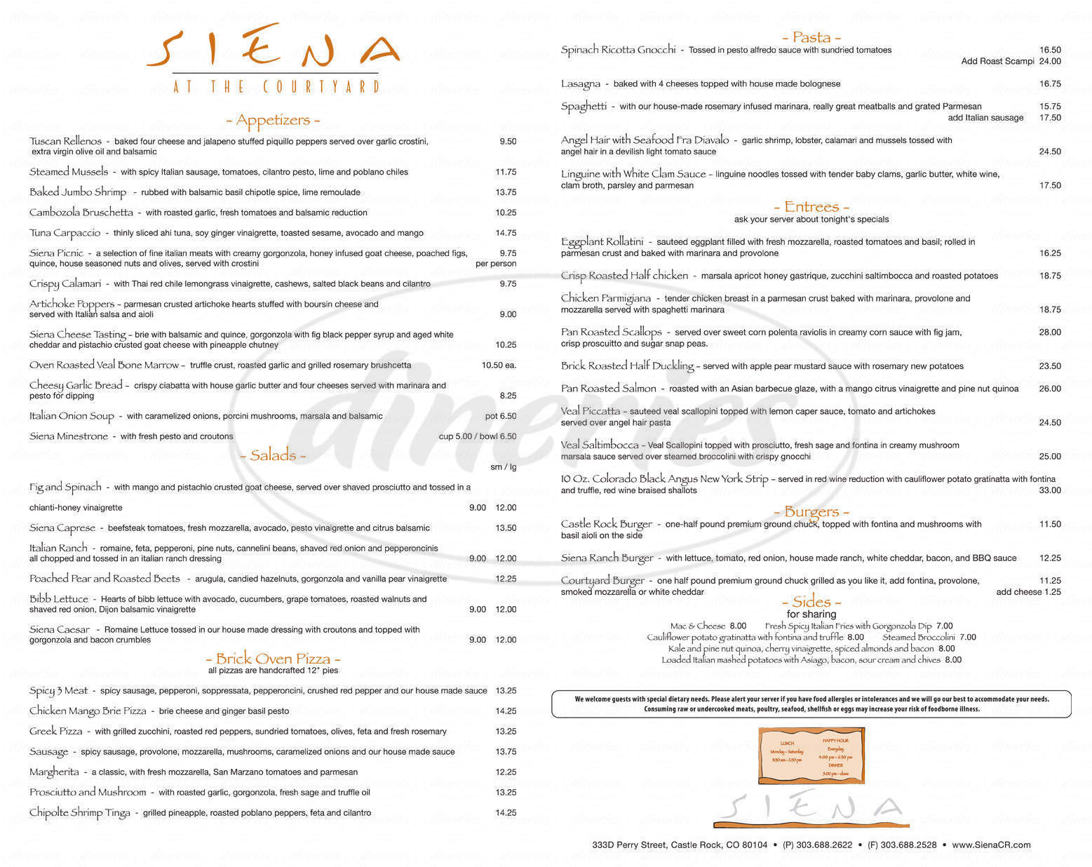 menu for Siena at the Courtyard