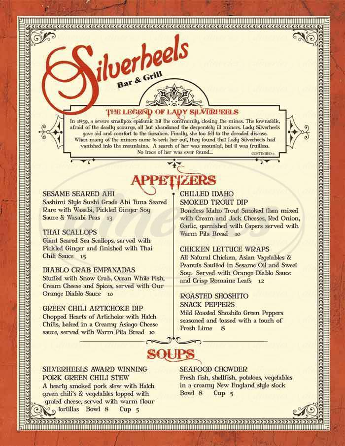 menu for Silverheels Bar and Grill