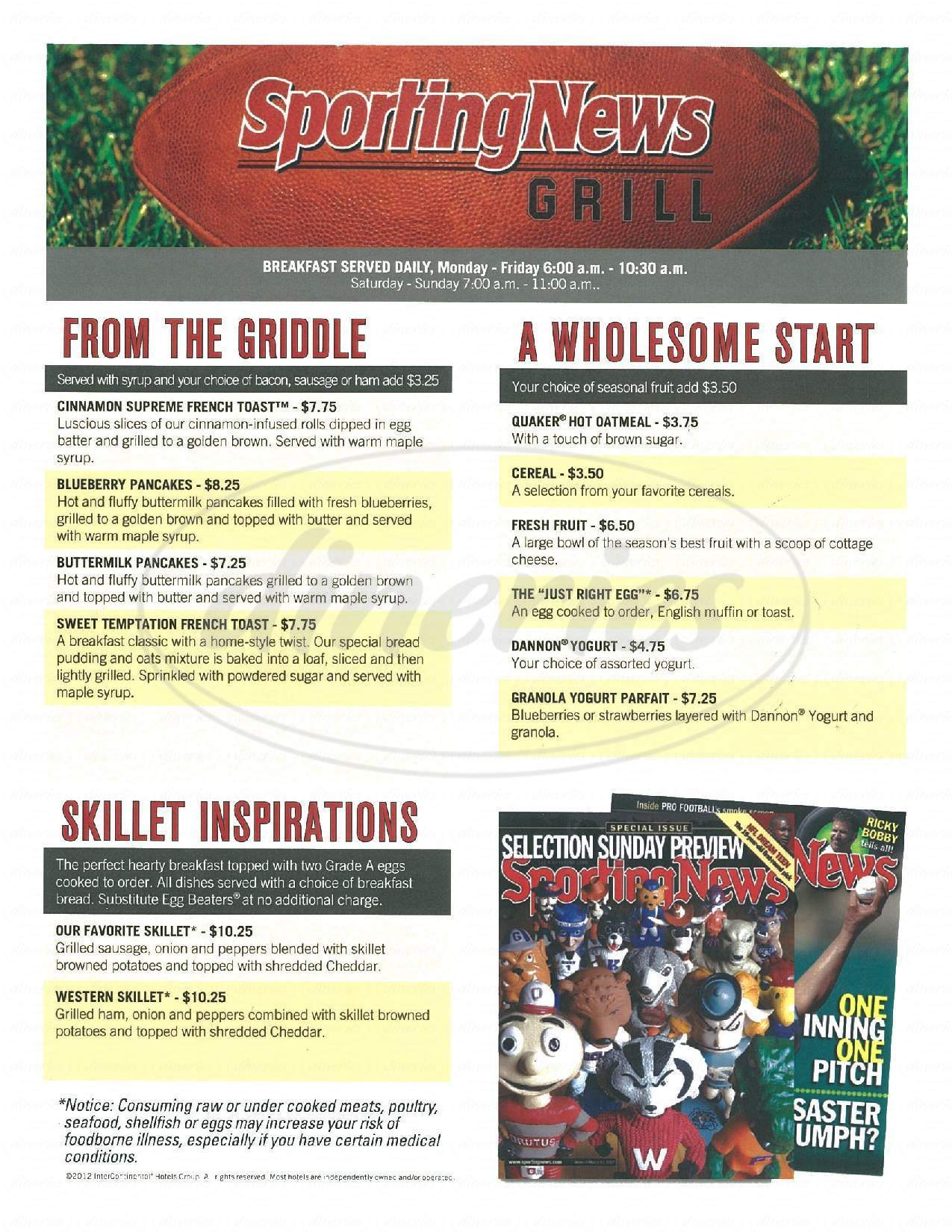 menu for Sporting News Grill