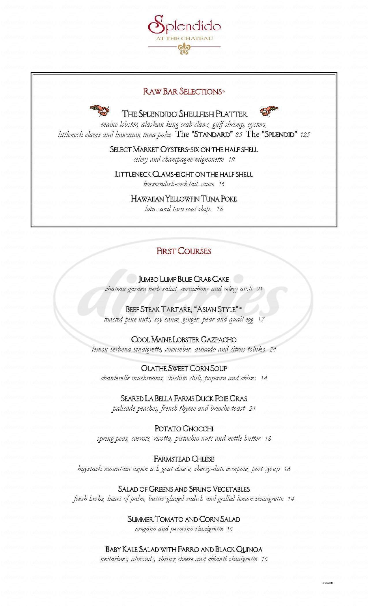 menu for Splendido at the Chateau