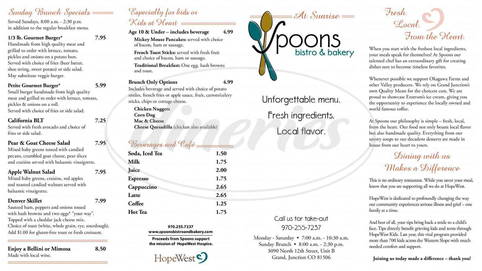 menu for Spoons Bistro & Bakery