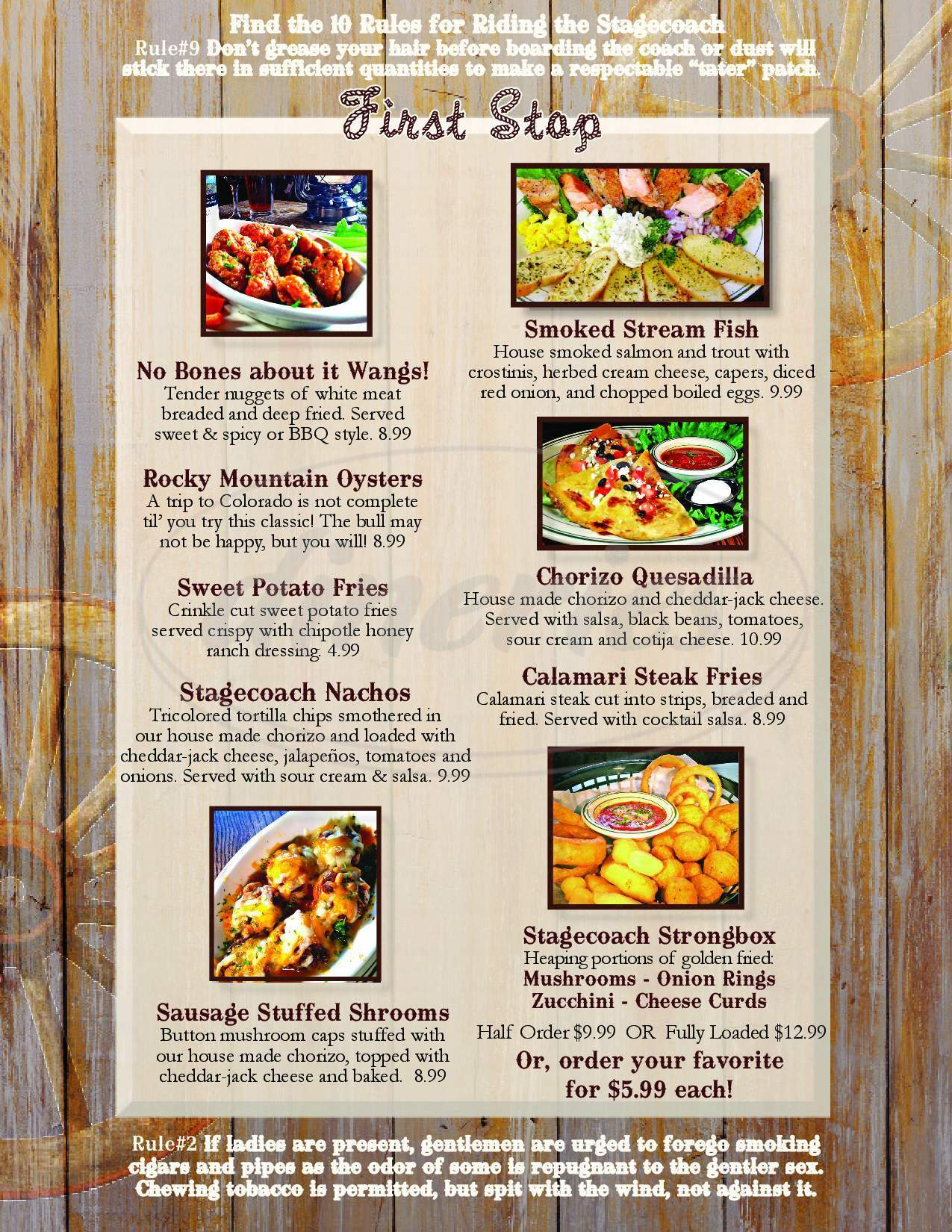 menu for Stagecoach Inn