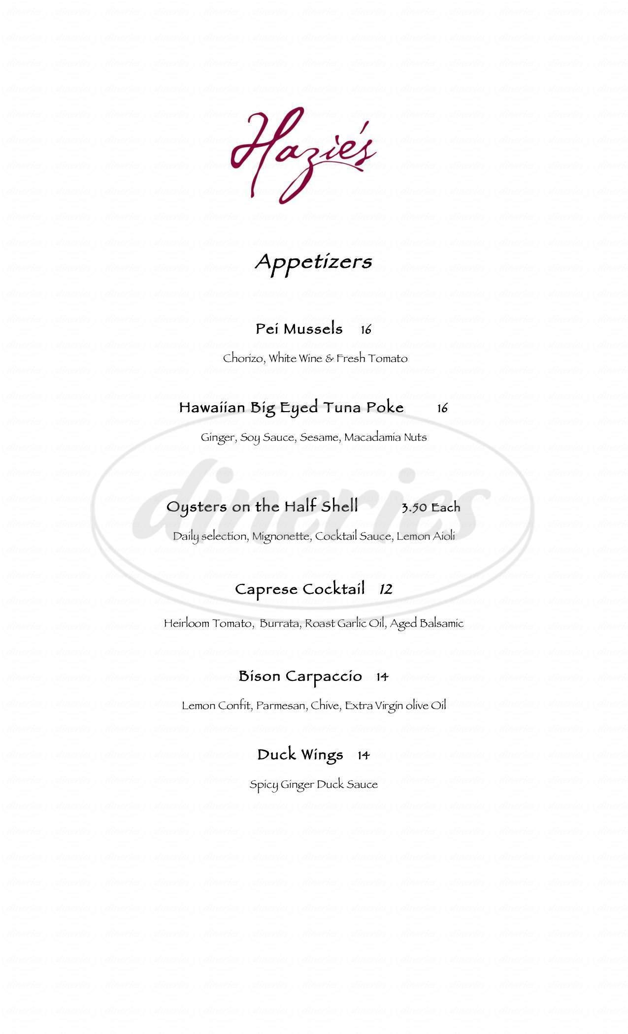 menu for Hazie's