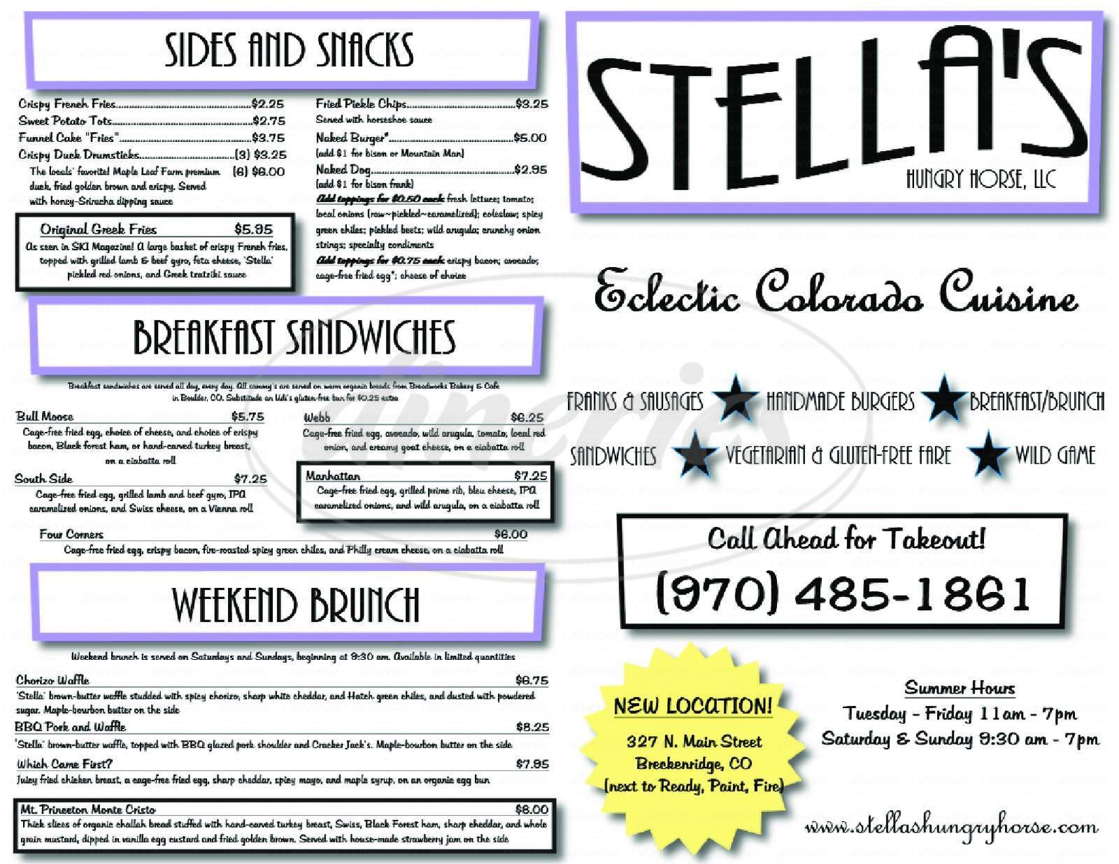 menu for Stella's Hungry Horse
