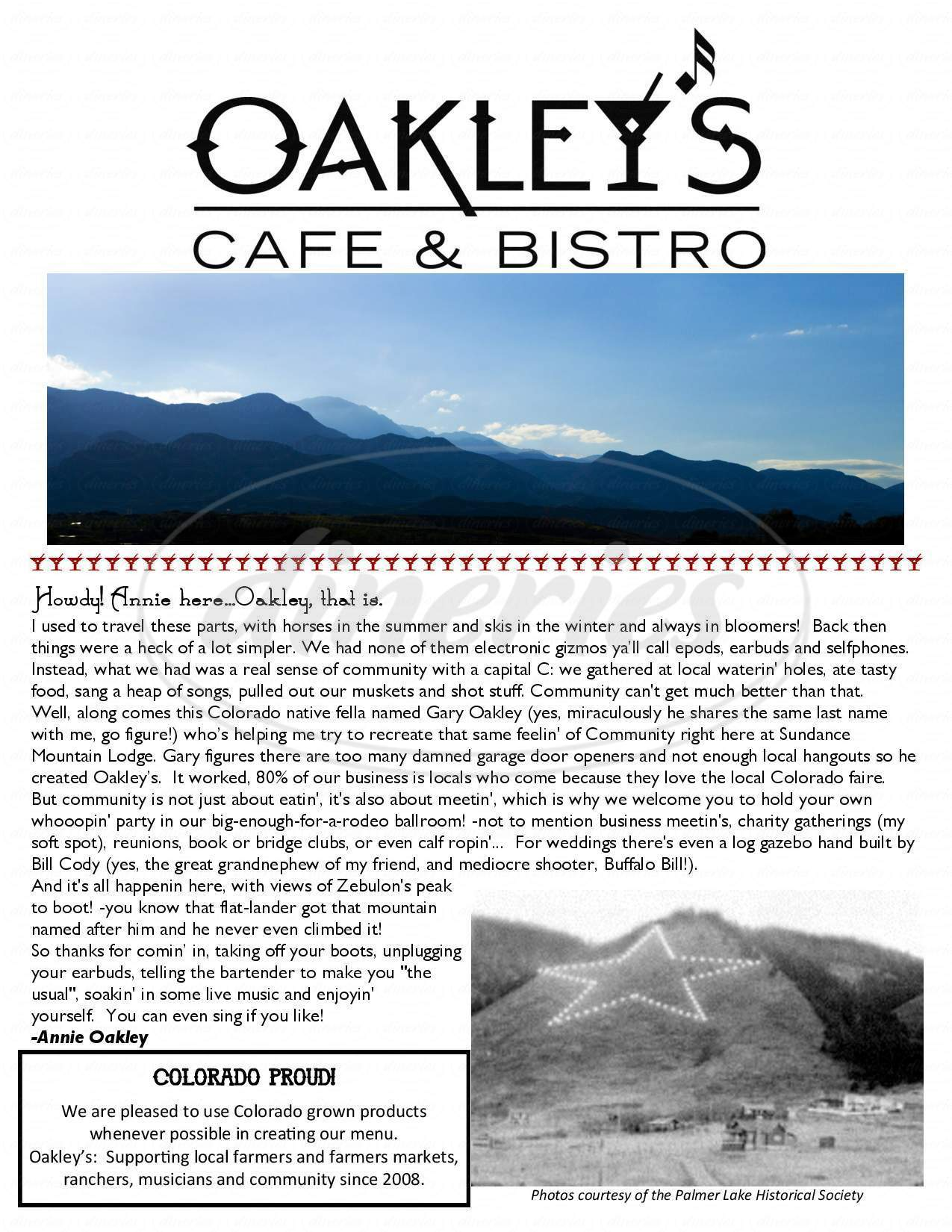 menu for Oakleys Cafe & Bistro
