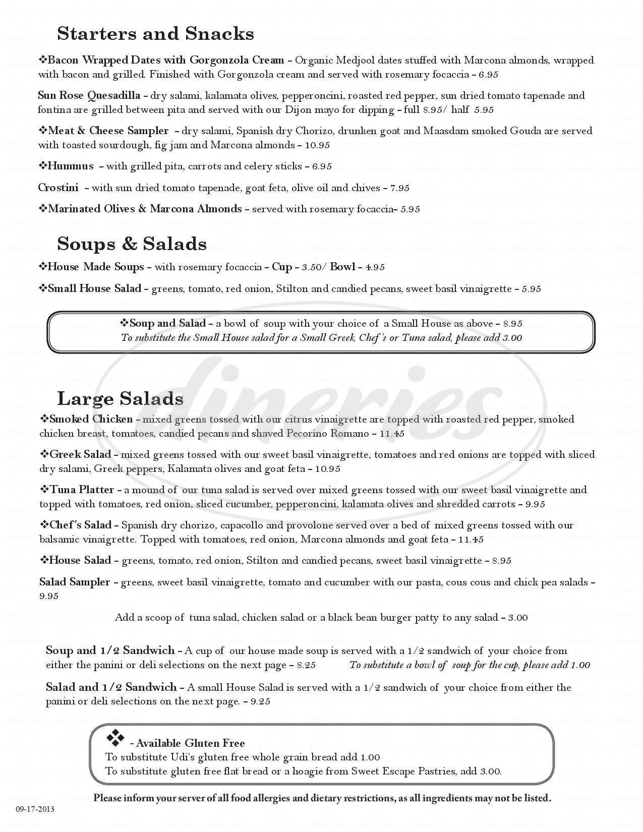 menu for Sun Rose Cafe