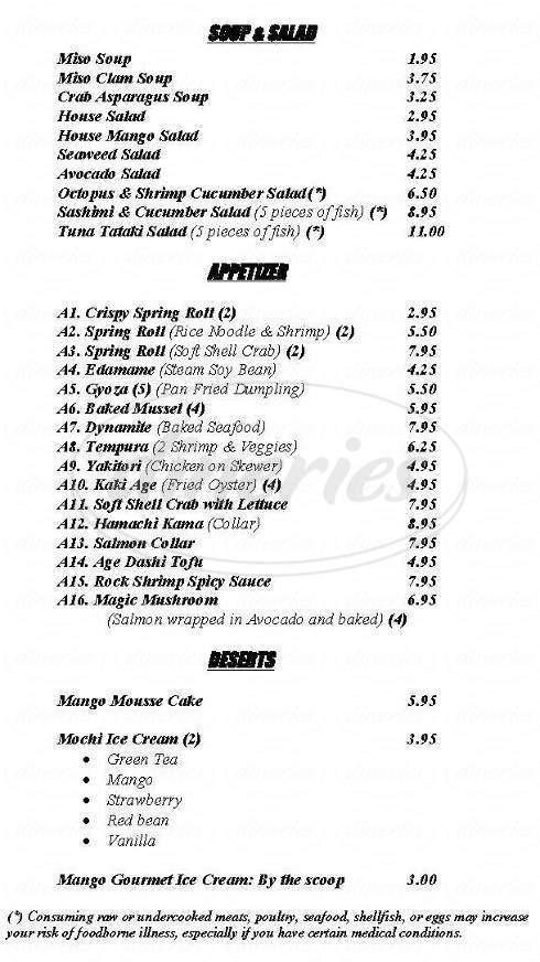 menu for Sushi Mango