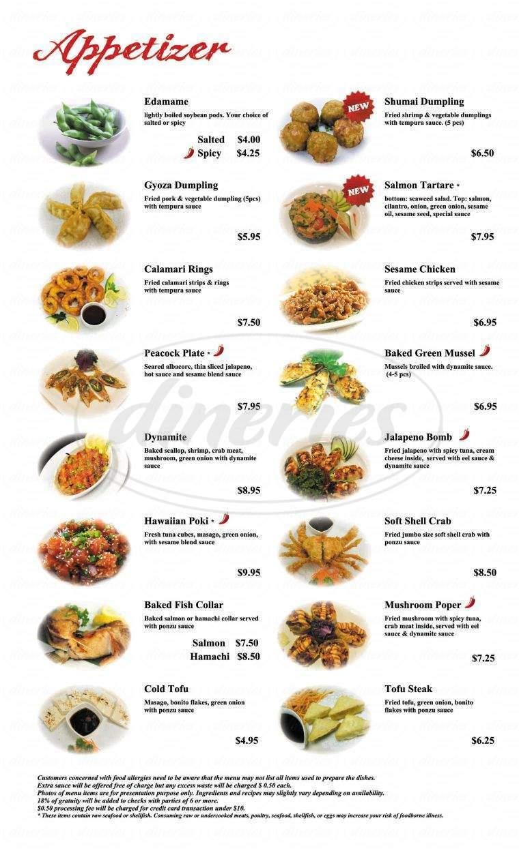 menu for Sushi & Rok