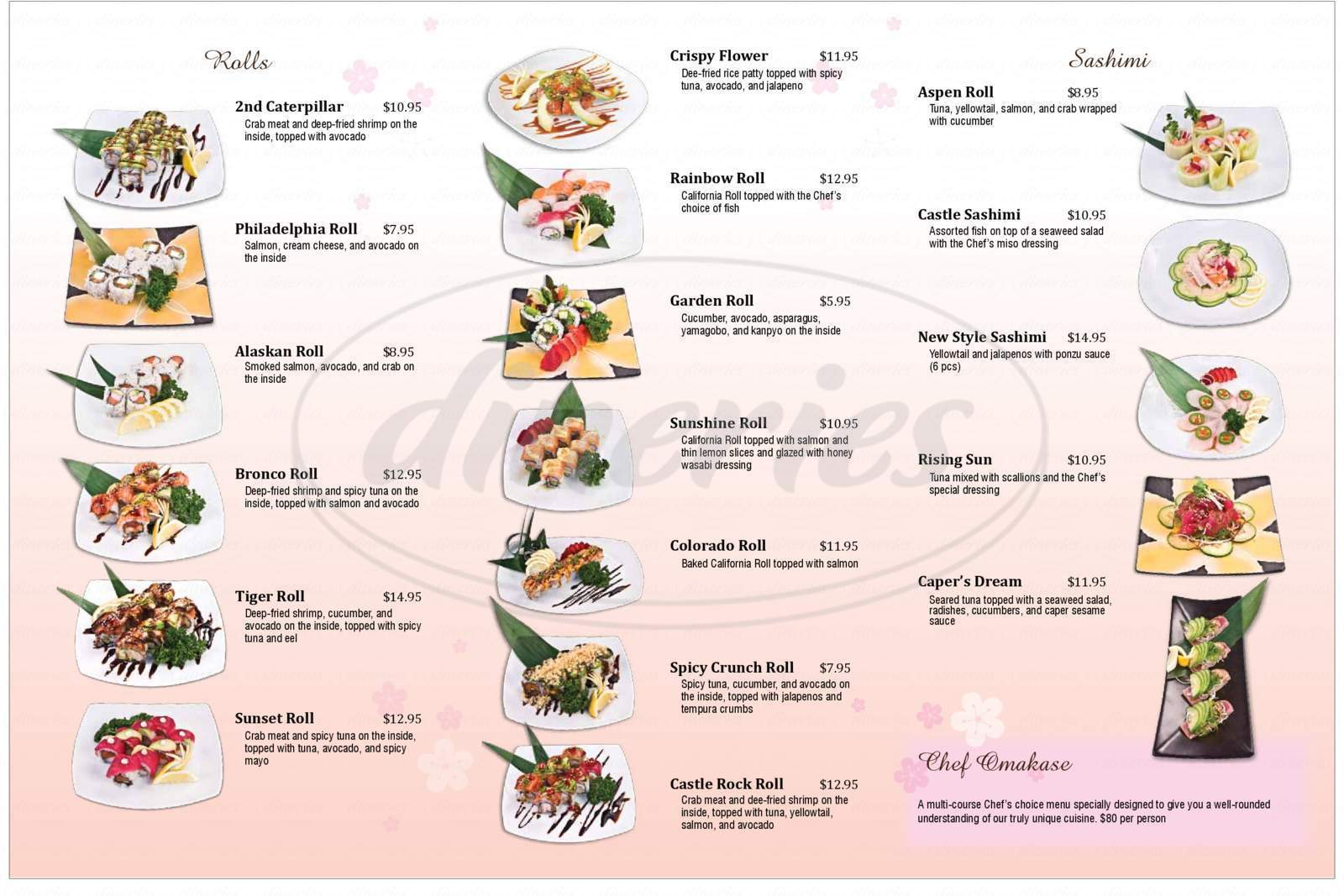 menu for Sushi Castle Japanese Fusion