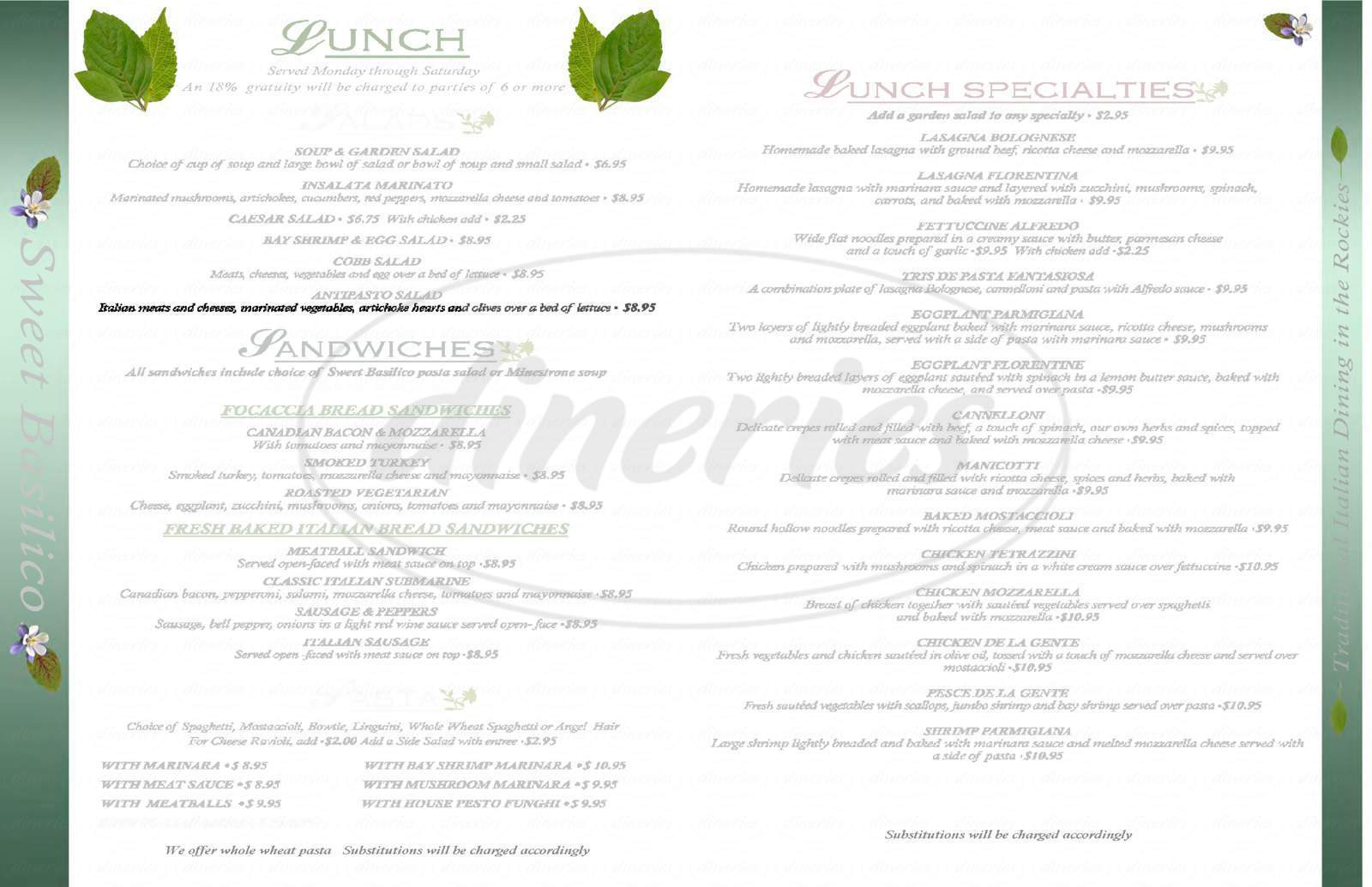 menu for Sweet Basilico Italian Cuisine