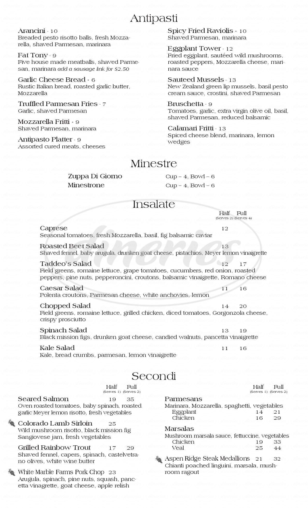menu for Taddeo's Italian Restaurant