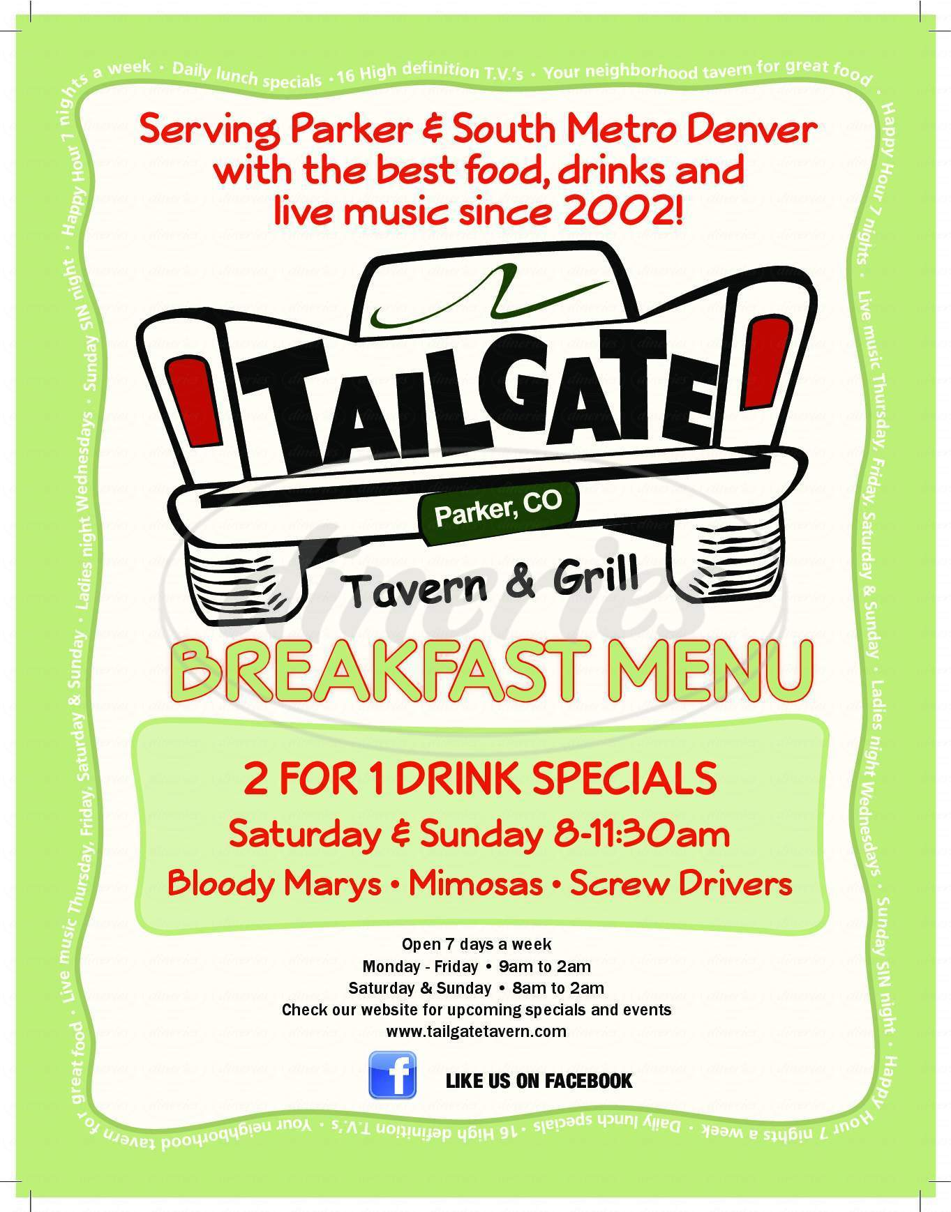 menu for Tailgate Tavern