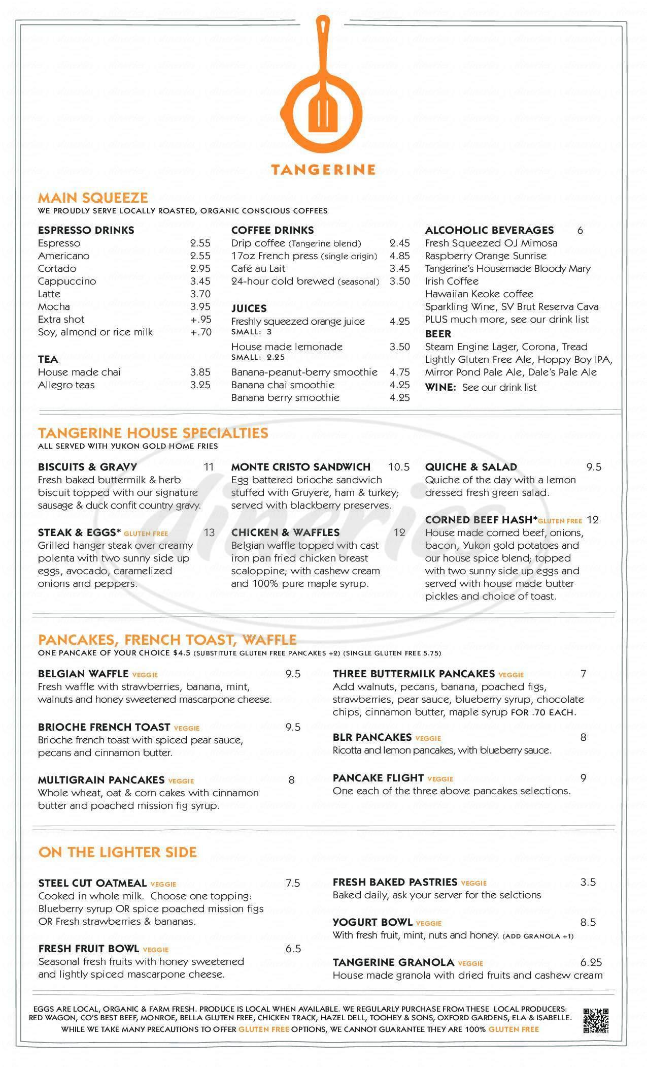 menu for Tangerine Restaurant