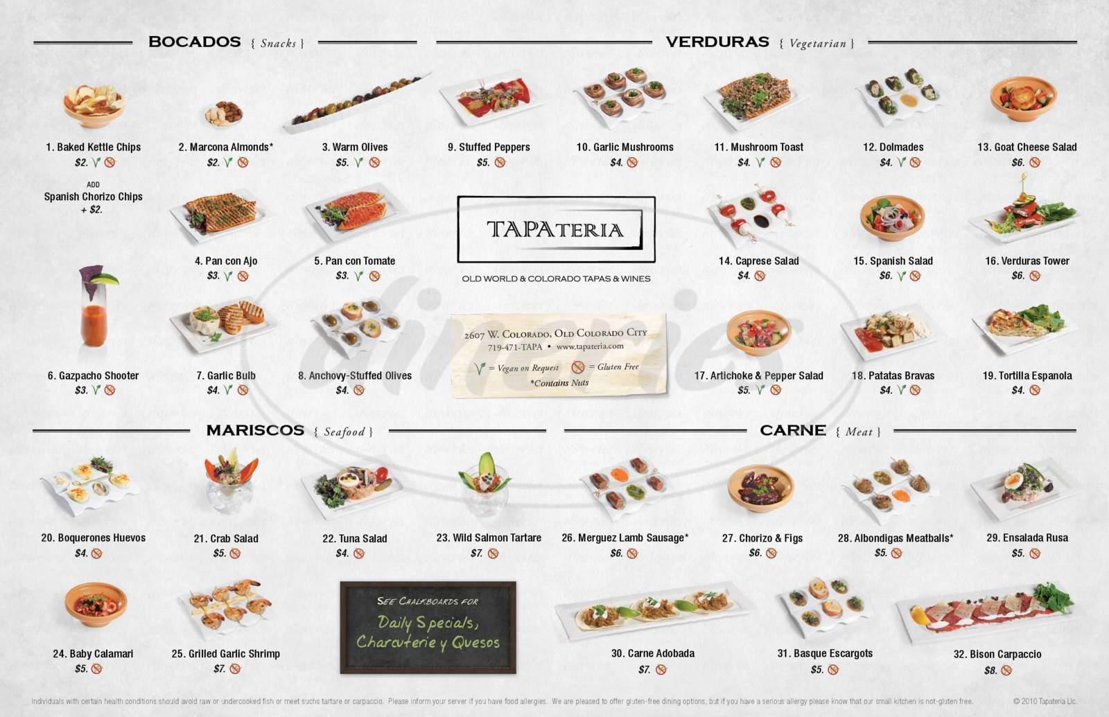 menu for Tapateria