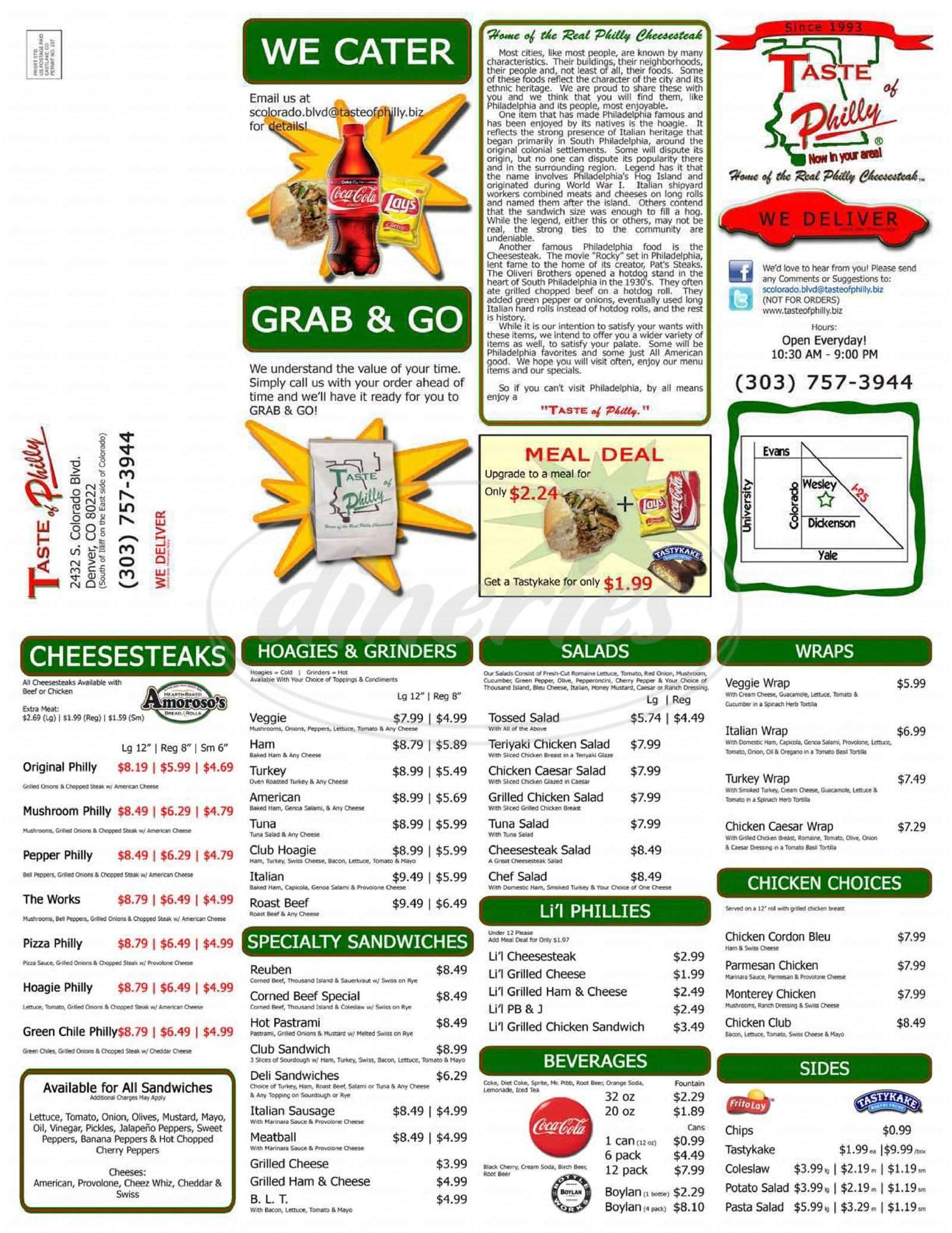 menu for Taste of Philly