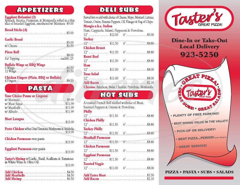 menu for Taster's