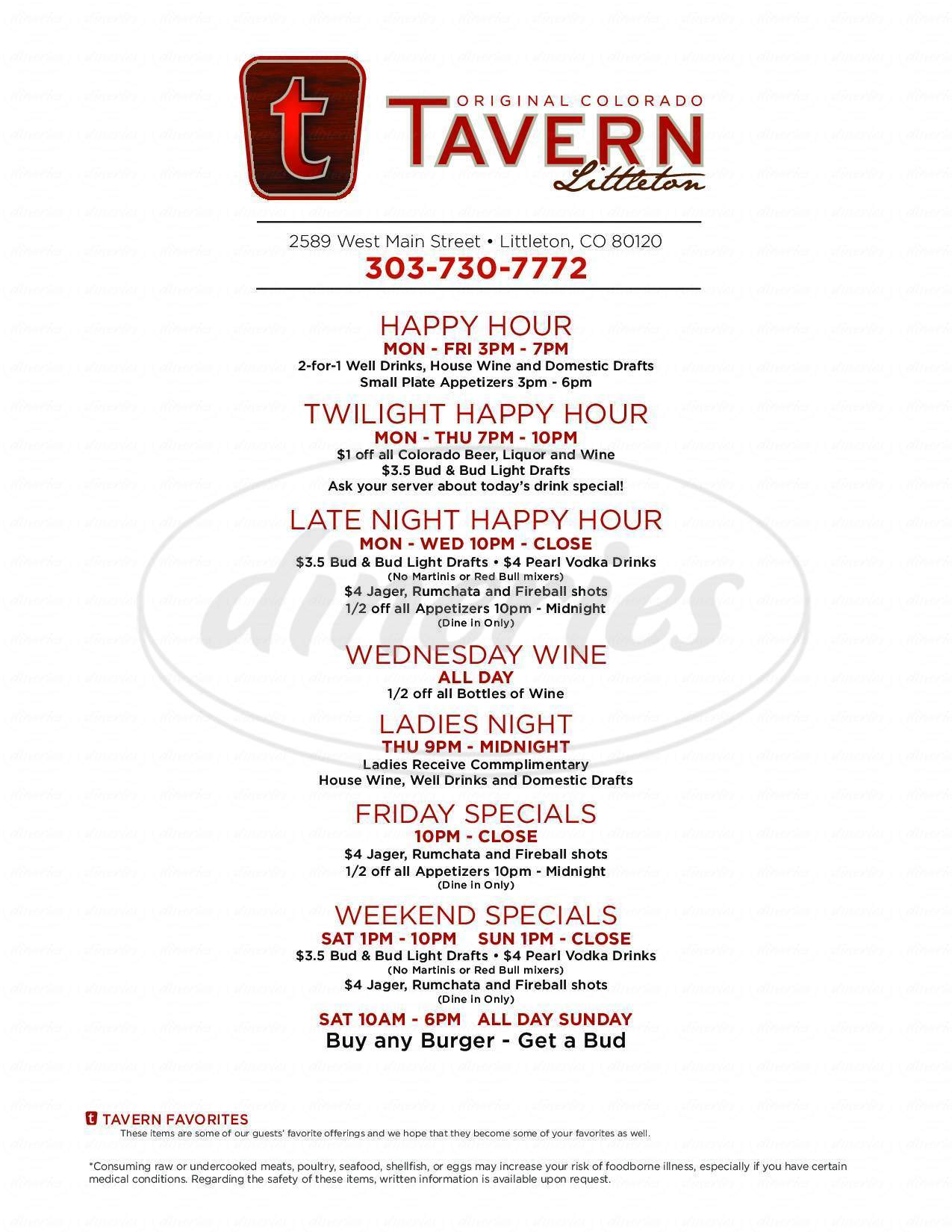 menu for Tavern Littleton