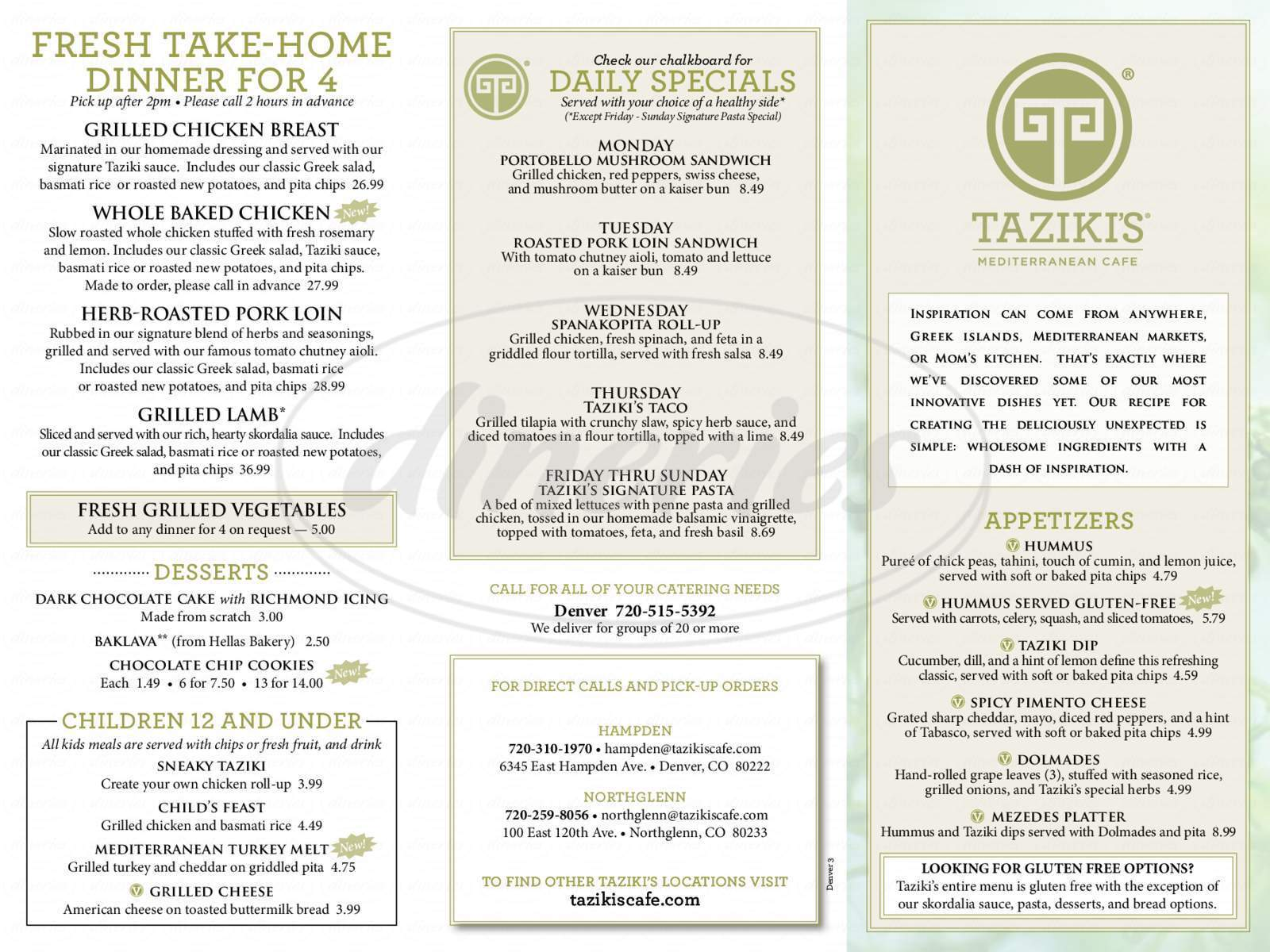 menu for Taziki's Mediterranean Cafe