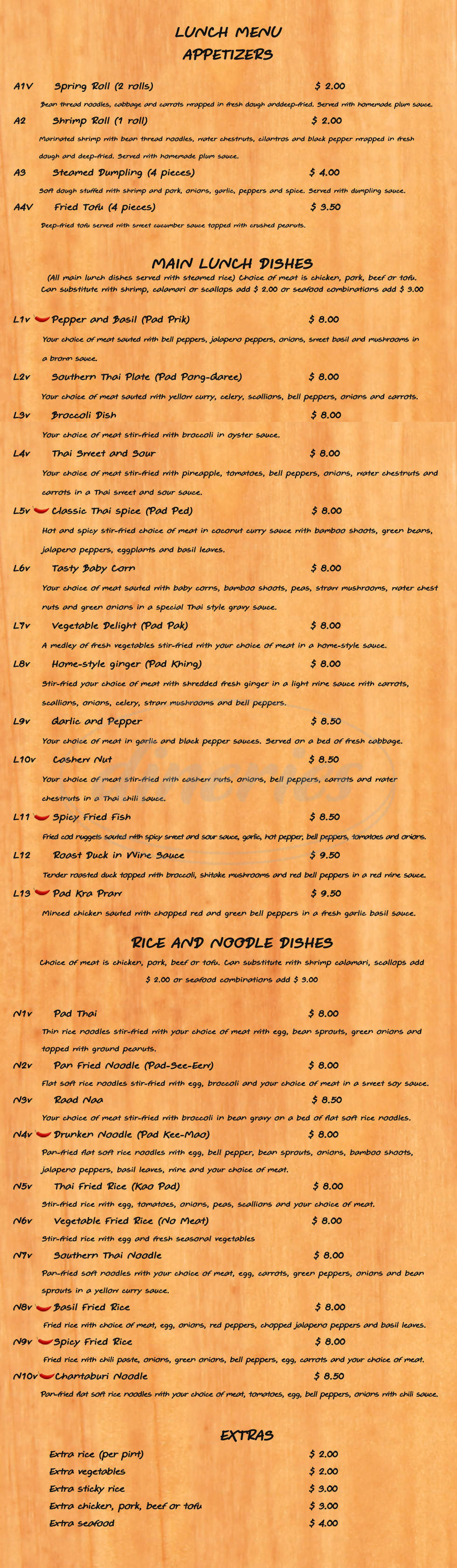 menu for Thai Bistro