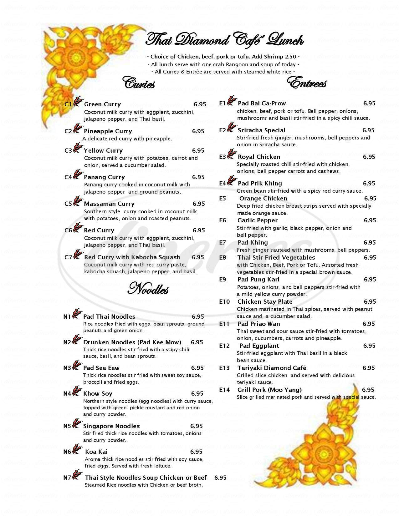 menu for Thai Diamond Cafe
