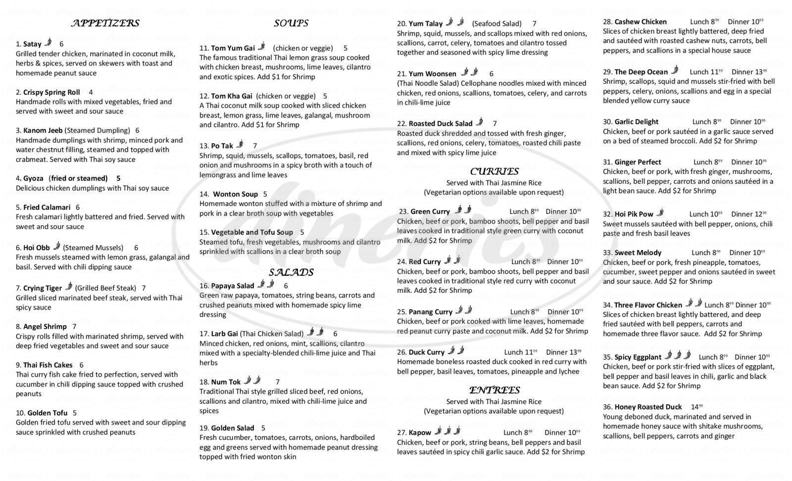 menu for Thai Gold Restaurant