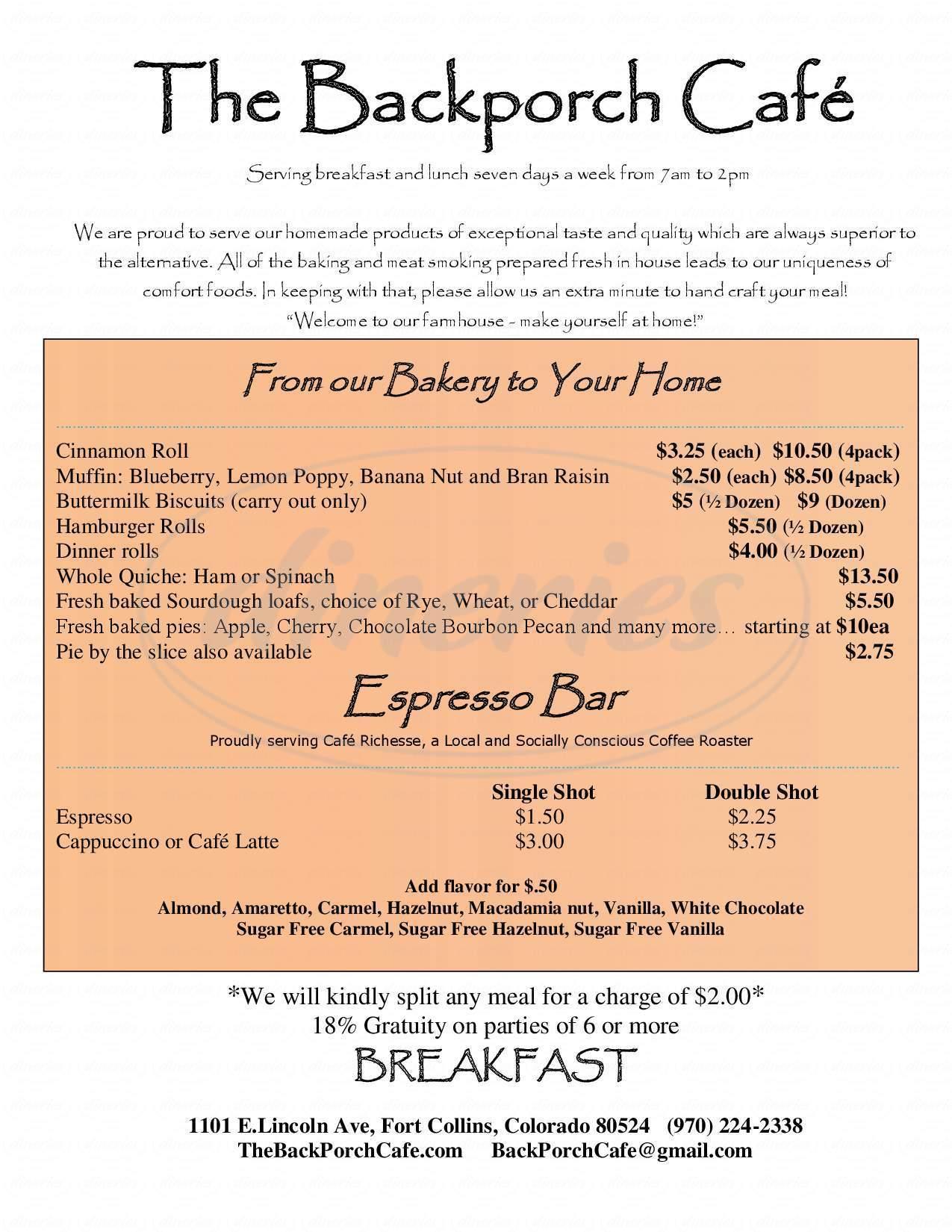 menu for Backporch Cafe