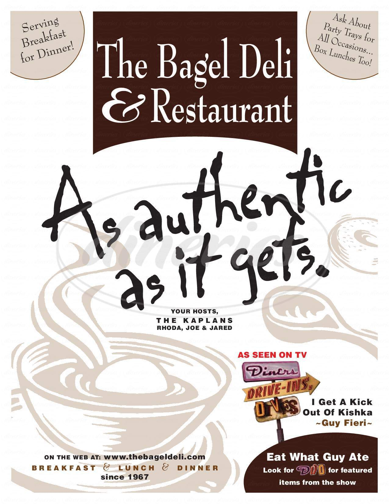 menu for The Bagel Delicatessen & Restaurant