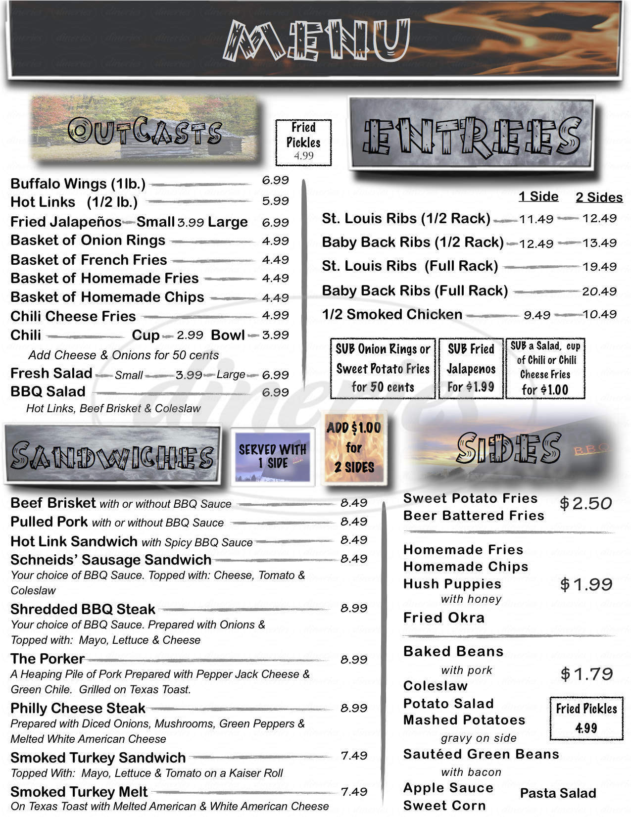 menu for Schneids Smoke Shack