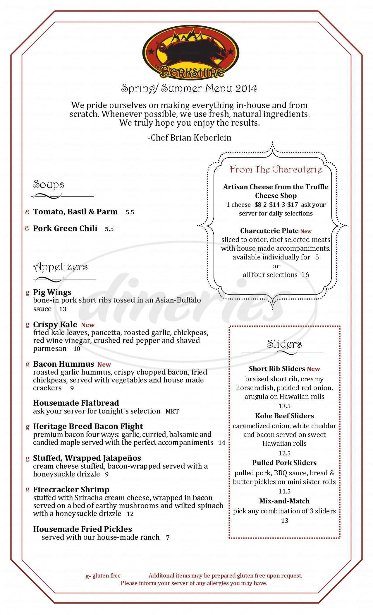 menu for The Berkshire